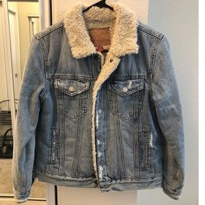 Lucky Brand Denim Jacket with Sherpa Lining